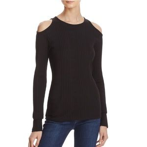 FRAME Denim Black Cold Shoulder Top